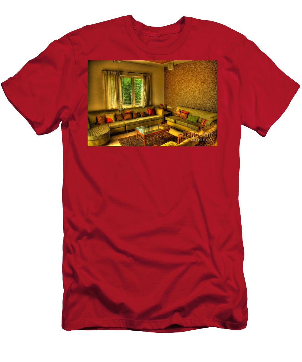 Living Room Men's T-Shirt (Athletic Fit) featuring the photograph Living Room by Charuhas Images