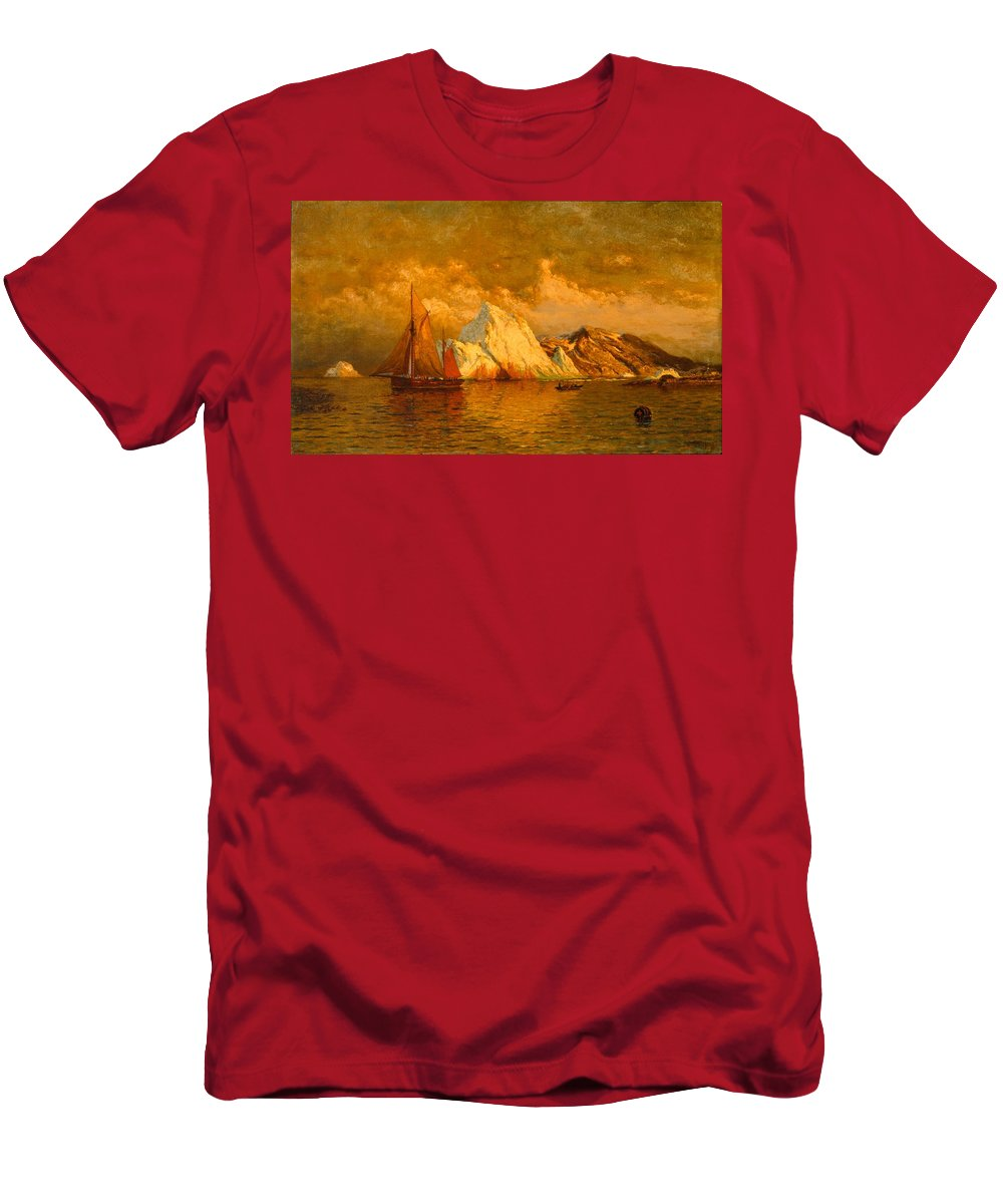 Seascape Men's T-Shirt (Athletic Fit) featuring the painting Near Midnight Labrador by William Bradford