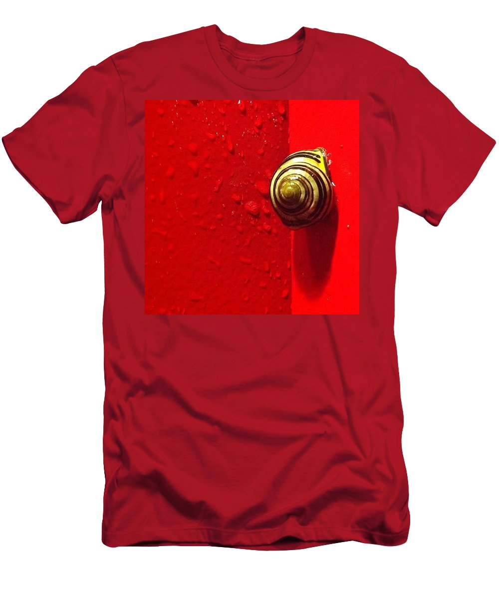 Nofilter Men's T-Shirt (Athletic Fit) featuring the photograph Never A Shortage Of #snails Back Here by Katie Cupcakes