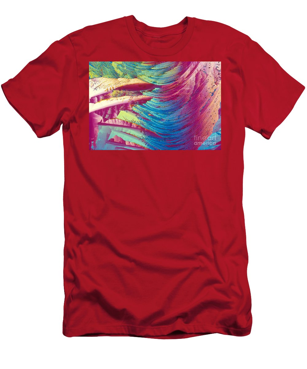 Light Micrograph Men's T-Shirt (Athletic Fit) featuring the photograph Nitroglycerin by Michael W. Davidson