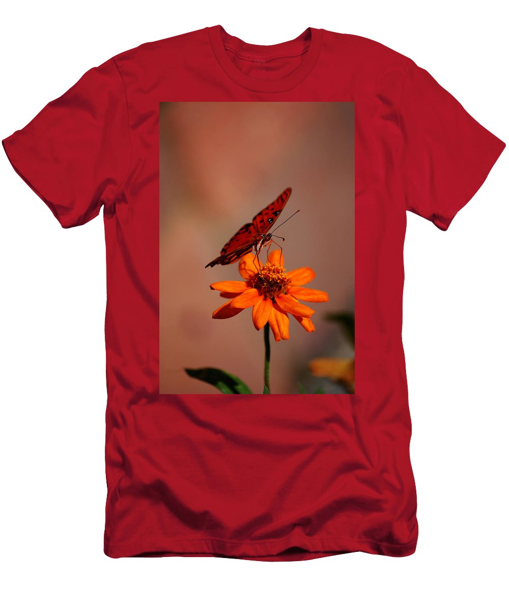 Butterfly Men's T-Shirt (Athletic Fit) featuring the photograph Orange Butterfly Orange Flower by Lori Tambakis