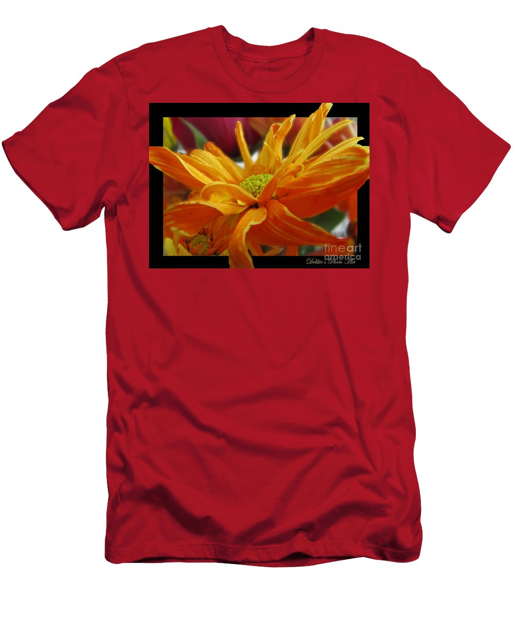 Nature Men's T-Shirt (Athletic Fit) featuring the photograph Orange Juice Daisy by Debbie Portwood