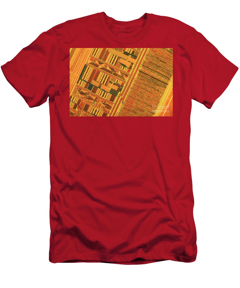 Silicon Men's T-Shirt (Athletic Fit) featuring the photograph Pentium Computer Chip by Michael W. Davidson