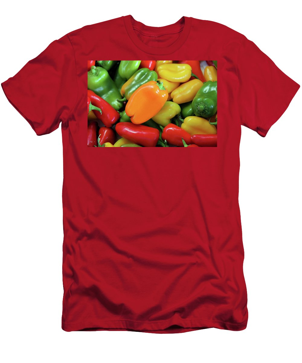 Peppers Men's T-Shirt (Athletic Fit) featuring the photograph Peppery by Kristin Elmquist