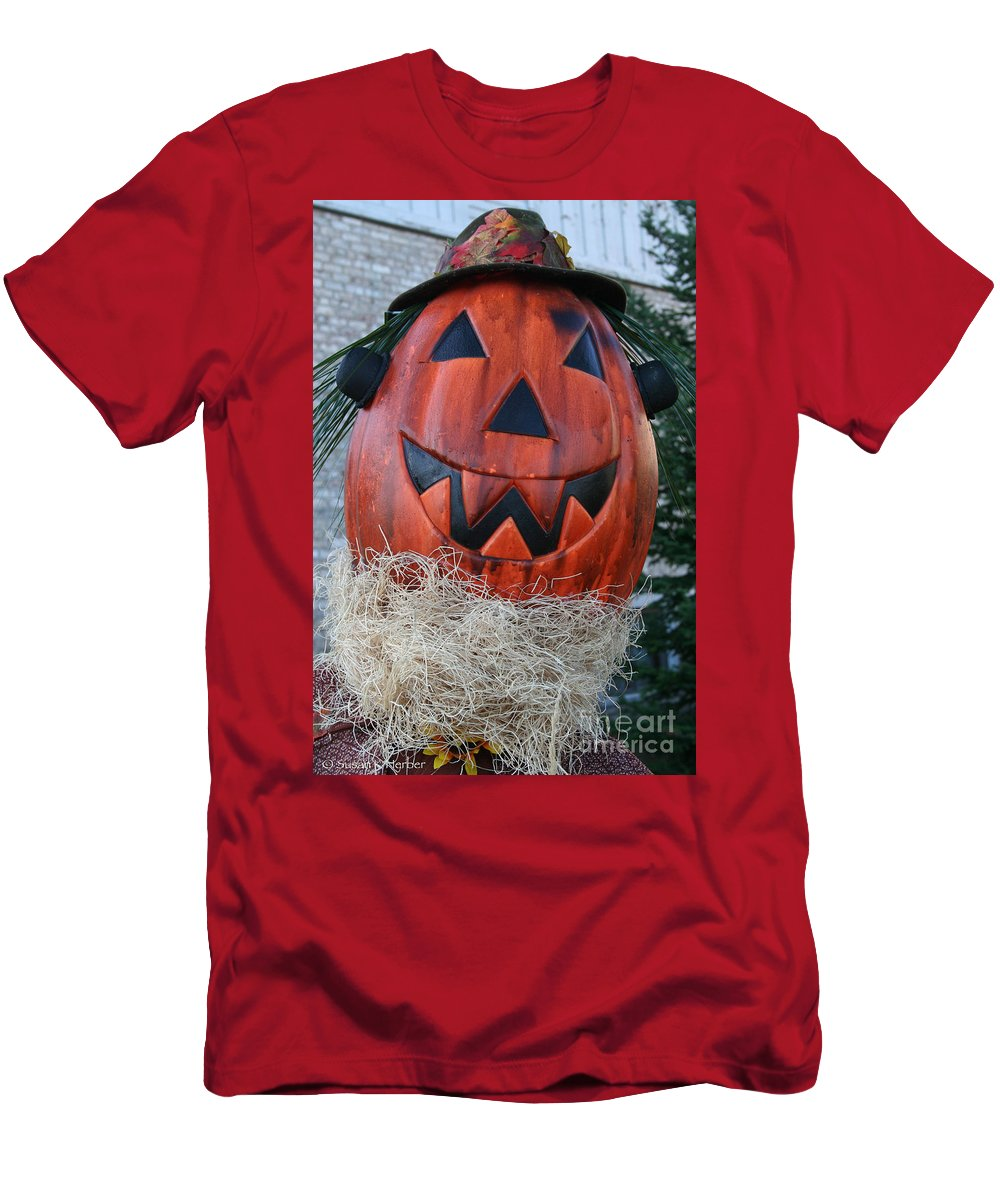 Fall Men's T-Shirt (Athletic Fit) featuring the photograph Pumpkinhead by Susan Herber