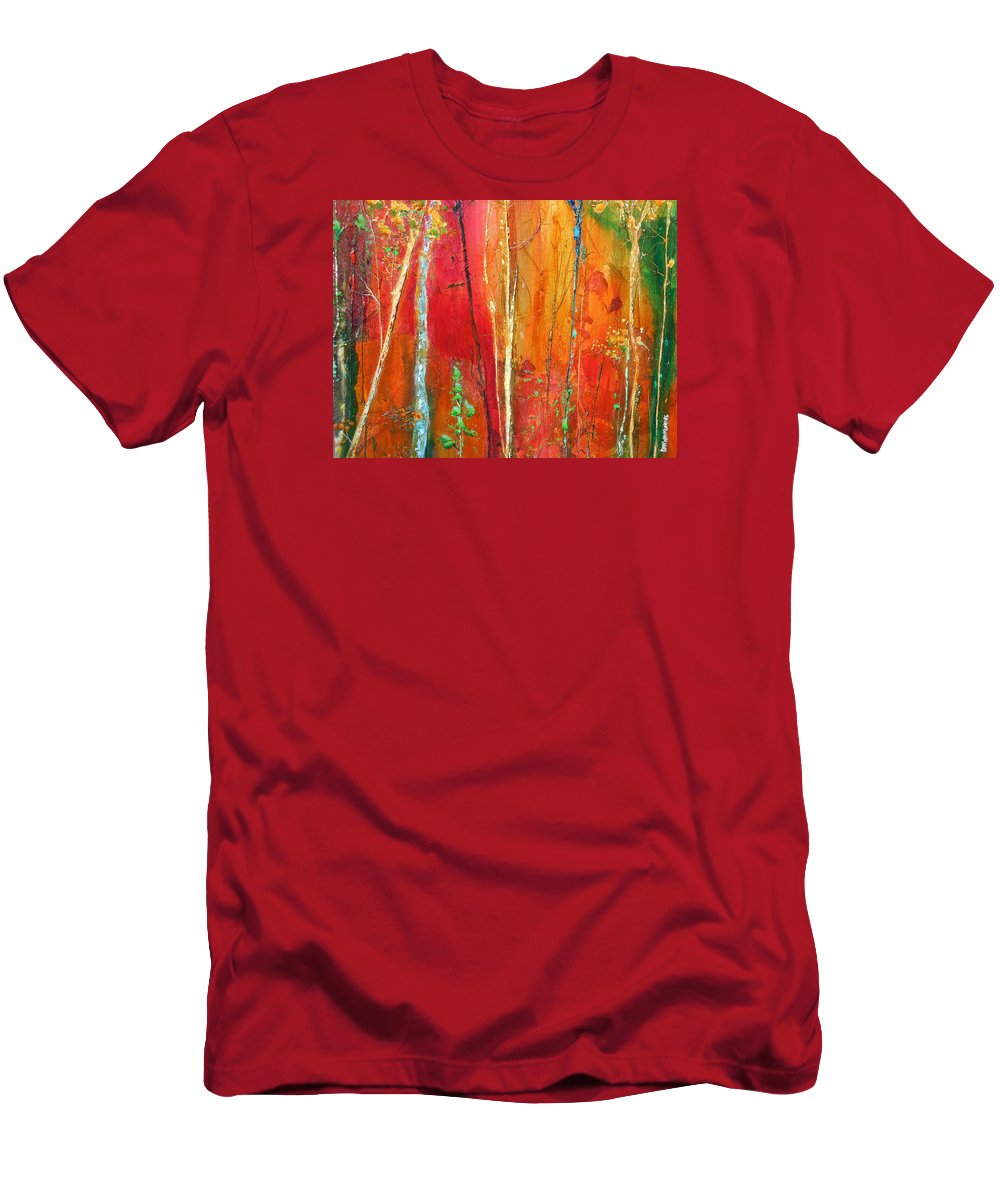 Abstract Forest Men's T-Shirt (Athletic Fit) featuring the painting Quinacridone Hollow by Dan Whittemore