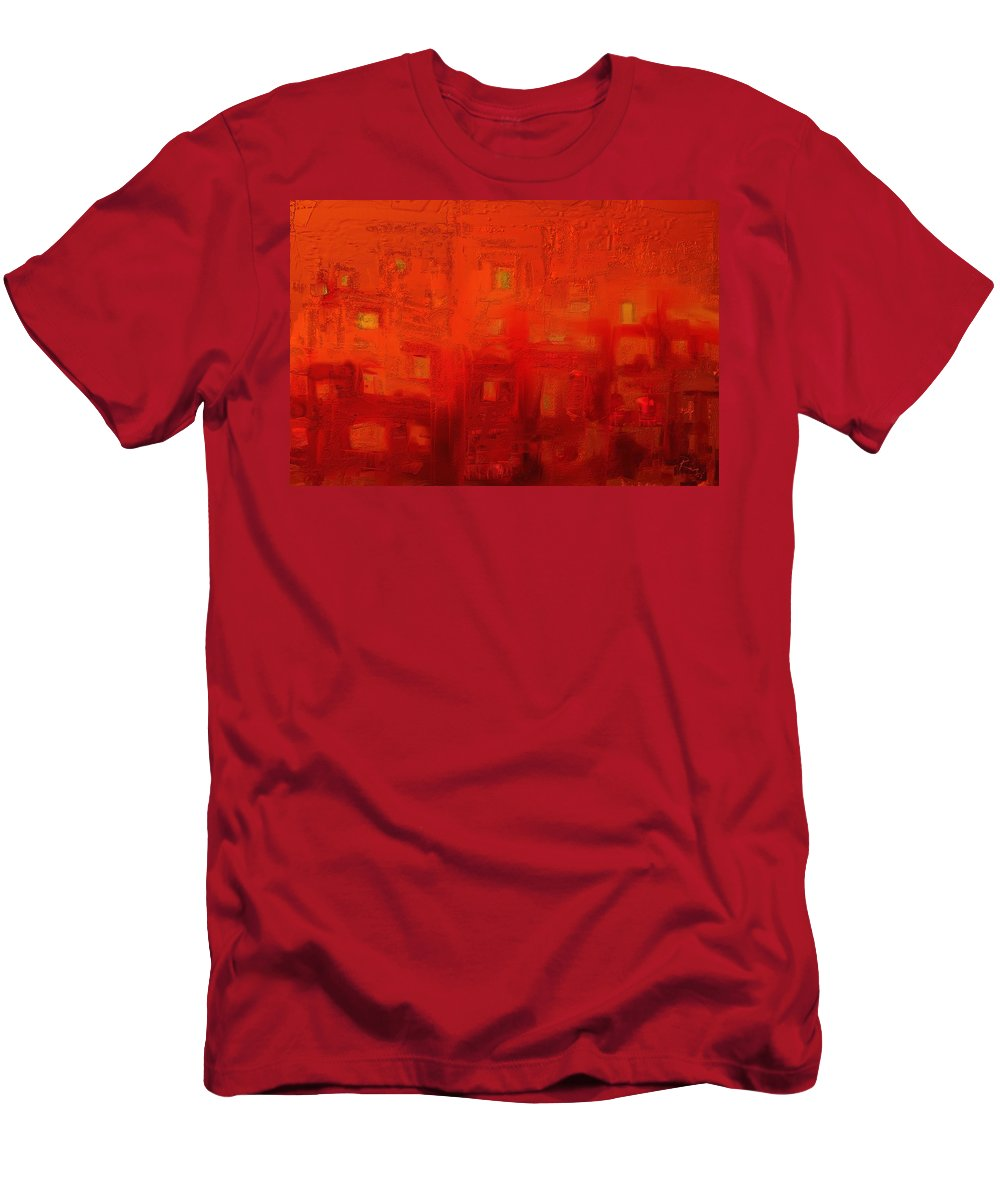 Abstract Men's T-Shirt (Athletic Fit) featuring the digital art Red City by Rabi Khan