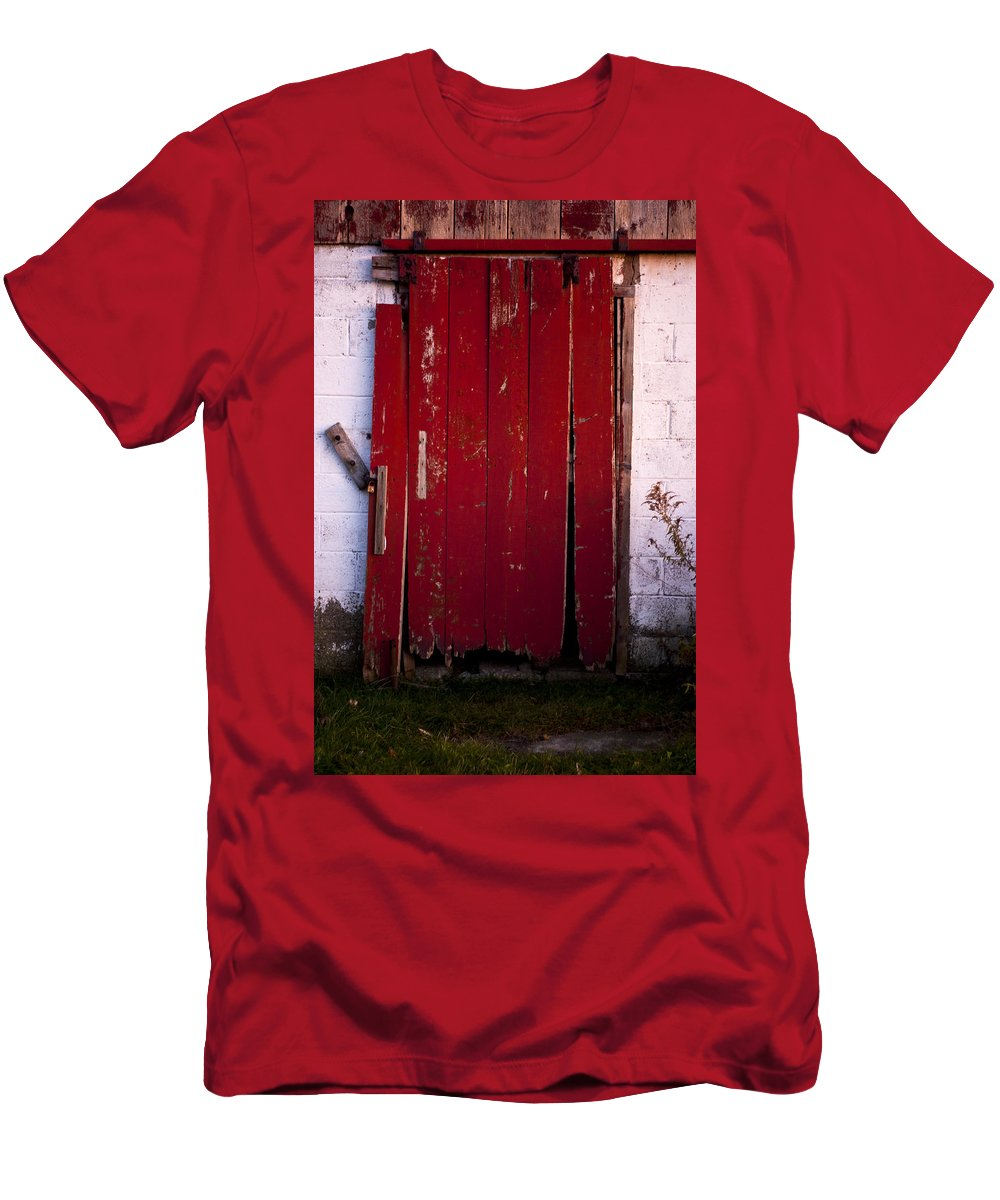 Farm Men's T-Shirt (Athletic Fit) featuring the photograph Red Door by Cale Best