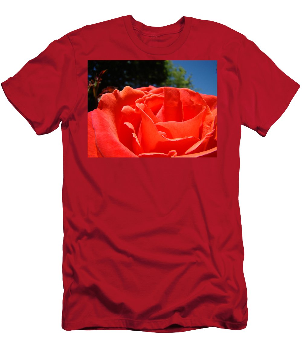 Rose Men's T-Shirt (Athletic Fit) featuring the photograph Red Rose Flower Bright Colorful Vivid Red Floral Rose by Baslee Troutman