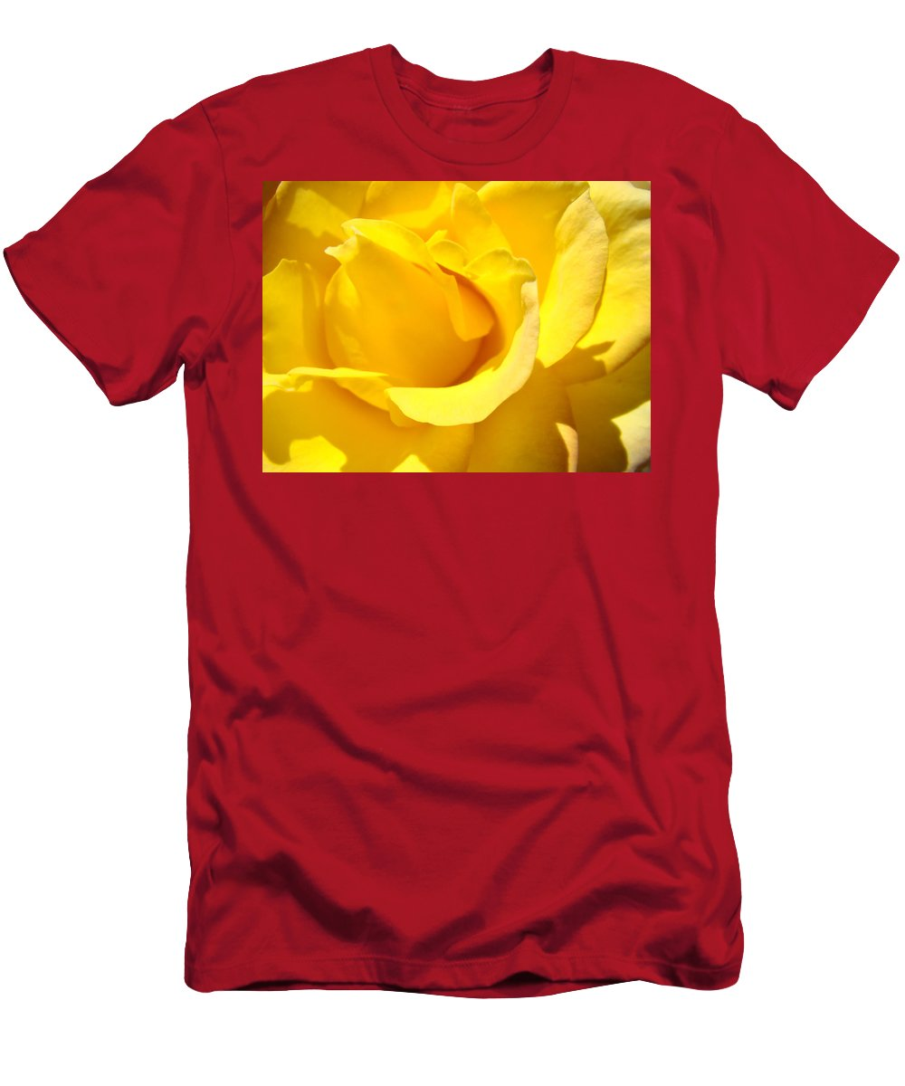 Rose T-Shirt featuring the photograph Rose Petal Flower Yellow Colorful Rose Floral Baslee by Patti Baslee