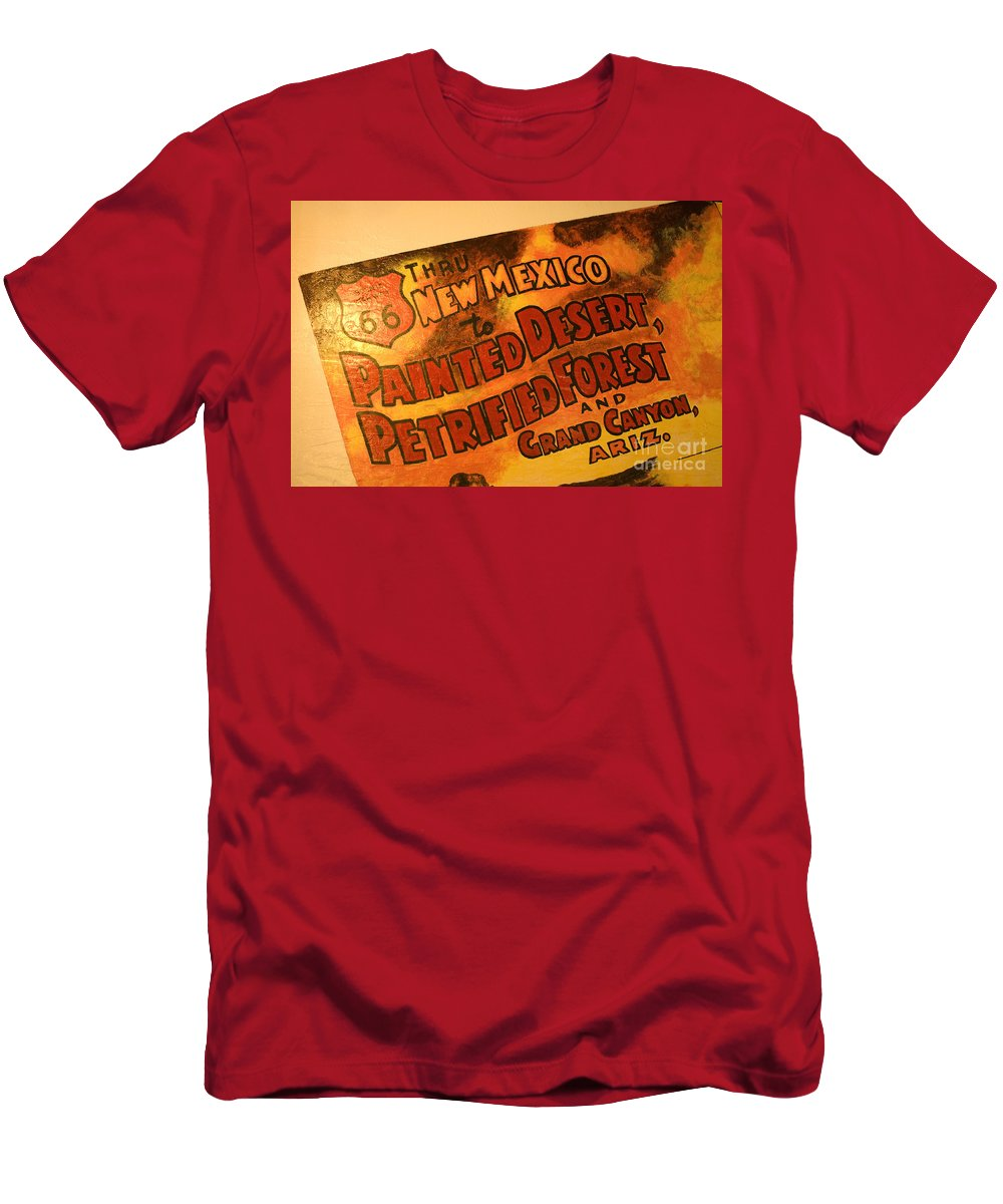 Route 66 Men's T-Shirt (Athletic Fit) featuring the photograph Route 66 Vintage Sign 5 by Bob Christopher