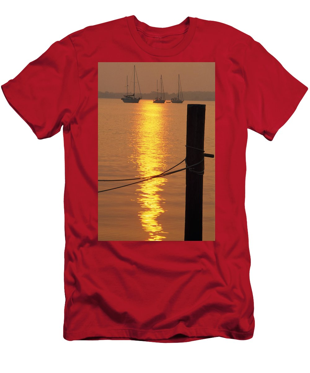Outdoors Men's T-Shirt (Athletic Fit) featuring the photograph Sailboats At Sunset by Natural Selection Tony Sweet