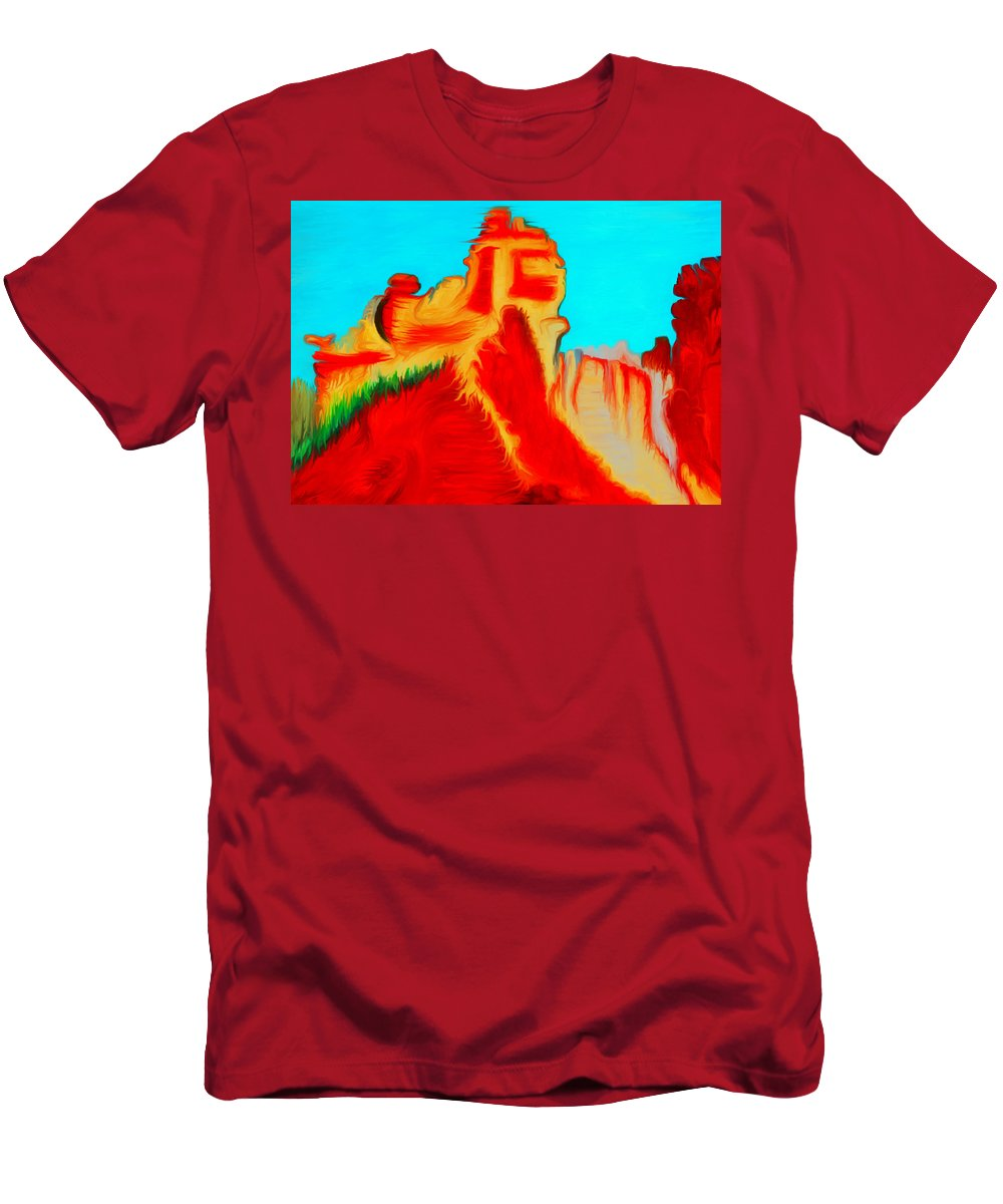 Sedona Men's T-Shirt (Athletic Fit) featuring the painting Sedona Hills - Fire At Sunset - Arizona by Marie Jamieson