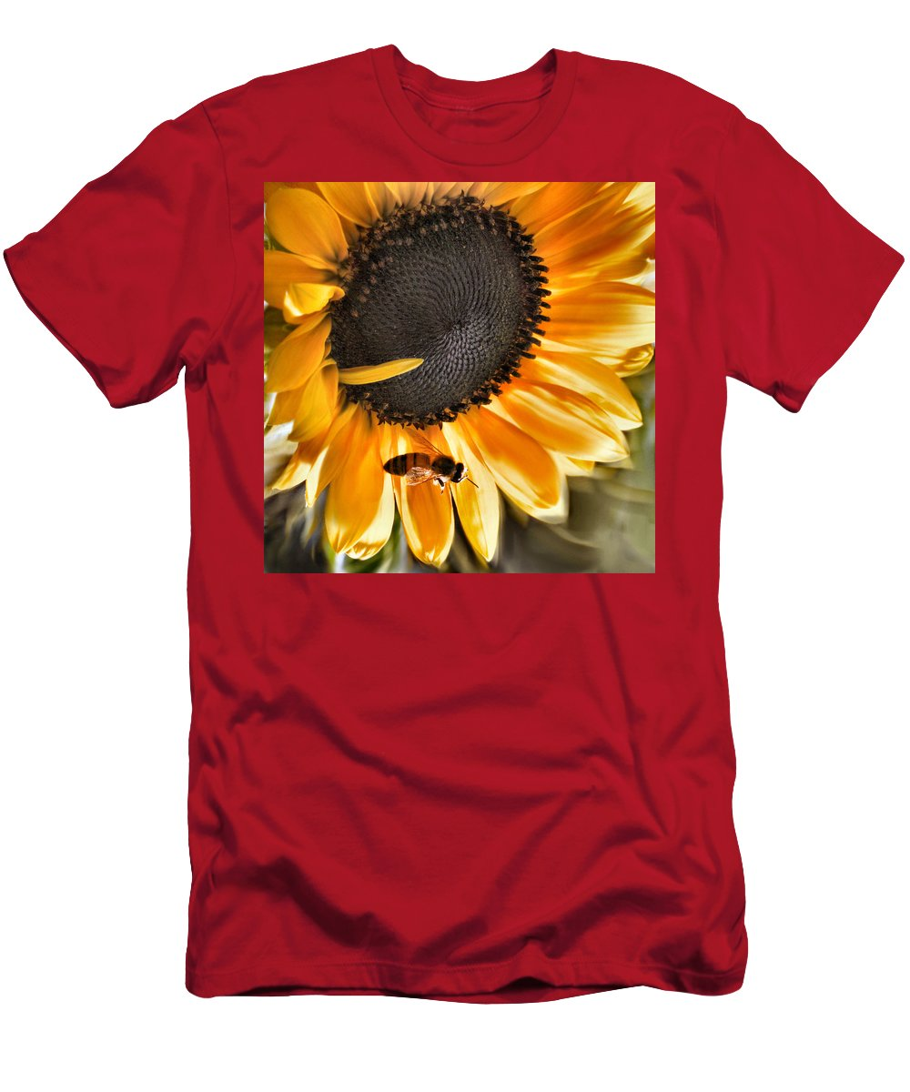 Sunflower Men's T-Shirt (Athletic Fit) featuring the photograph Shoo Bee by Sally Bauer