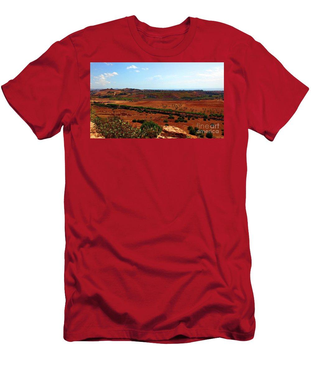 Sicily Men's T-Shirt (Athletic Fit) featuring the photograph Sicilian Landscape by Madeline Ellis