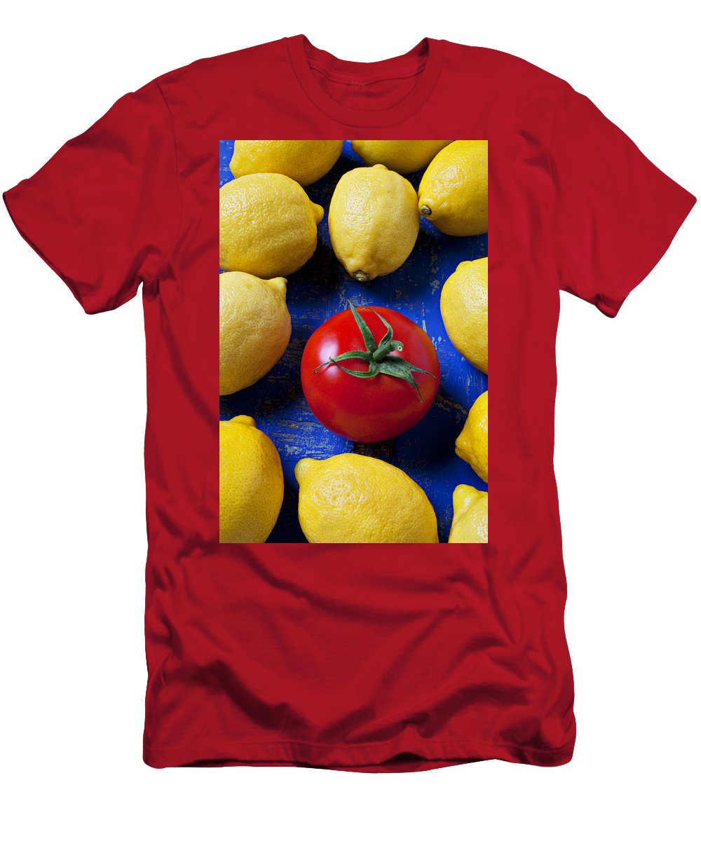Single Tomato Men's T-Shirt (Athletic Fit) featuring the photograph Single Tomato With Lemons by Garry Gay