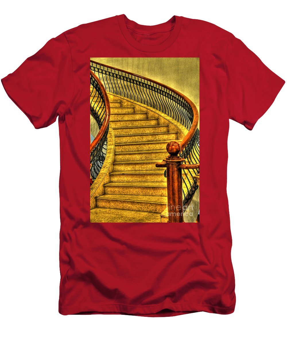 Stairs Men's T-Shirt (Athletic Fit) featuring the photograph Stairs Hdr Processing by Charuhas Images