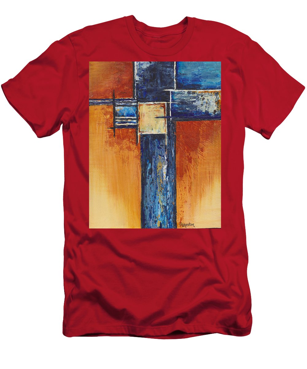 Gold Men's T-Shirt (Athletic Fit) featuring the painting Stay Gold by Cindy Johnston