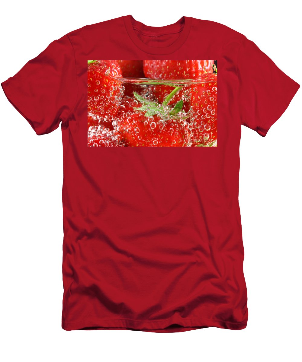 Strawberry Men's T-Shirt (Athletic Fit) featuring the photograph Strawberries In Water Close Up by Simon Bratt Photography LRPS
