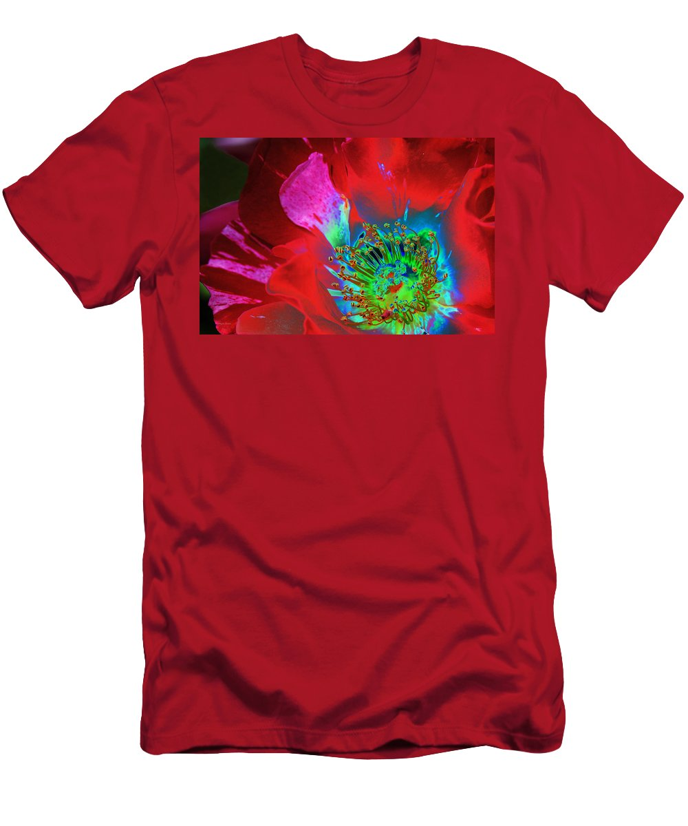 Rose Men's T-Shirt (Athletic Fit) featuring the photograph Stylized Flower Center by Phyllis Denton