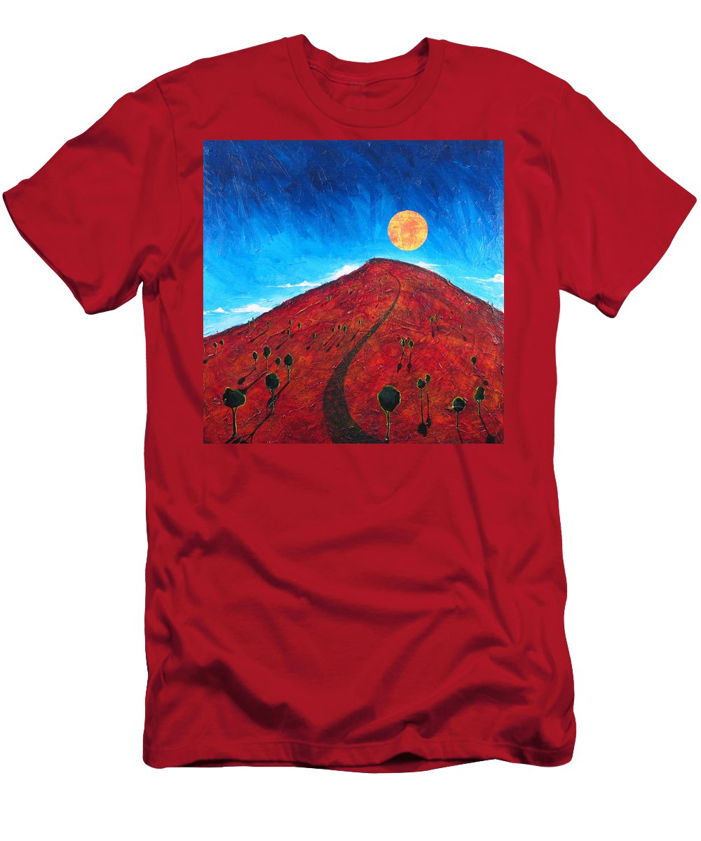Landscape T-Shirt featuring the painting Sun Over Red Hill by Rollin Kocsis