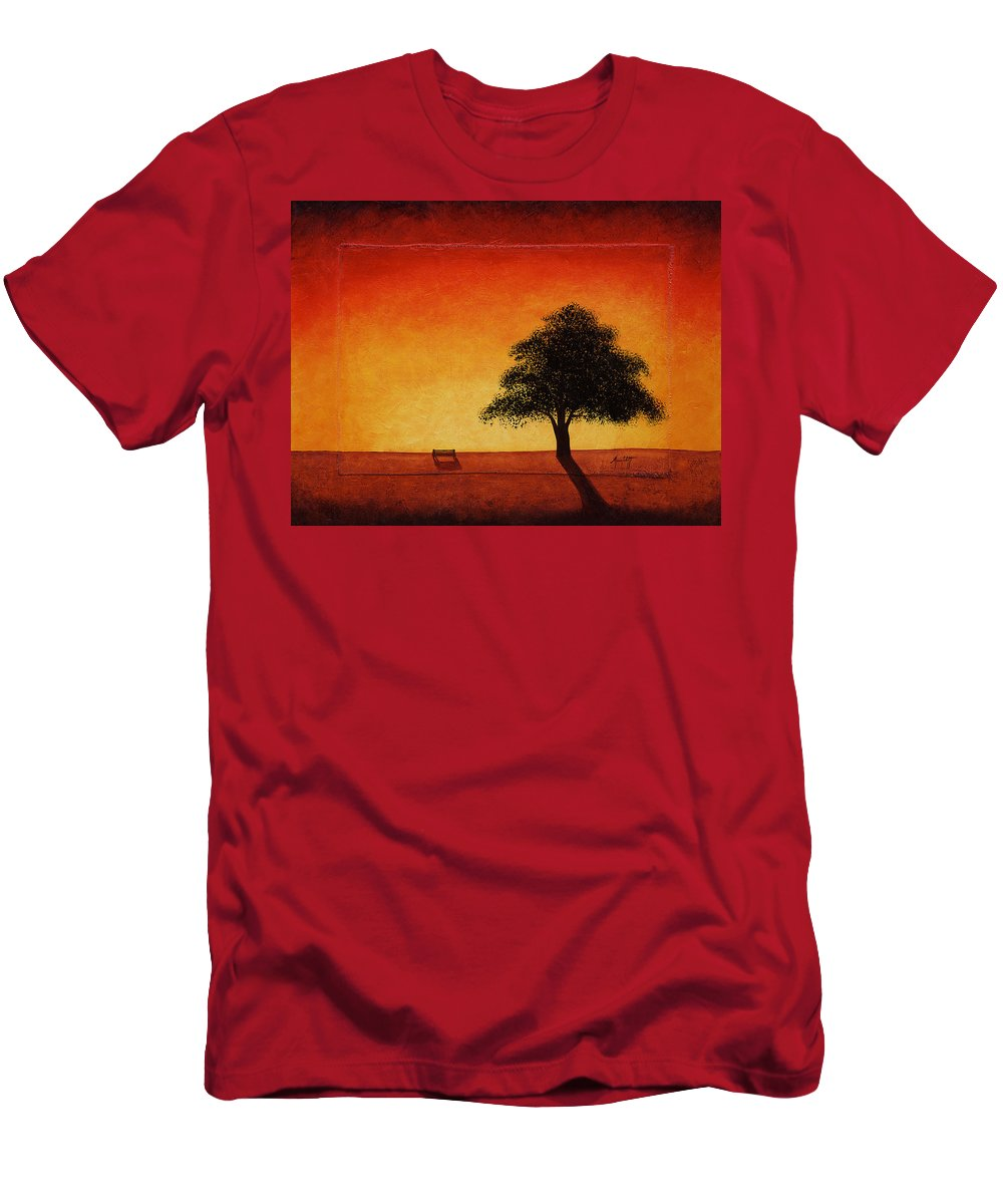 Art Men's T-Shirt (Athletic Fit) featuring the painting Sunset Bench by Mauro Celotti