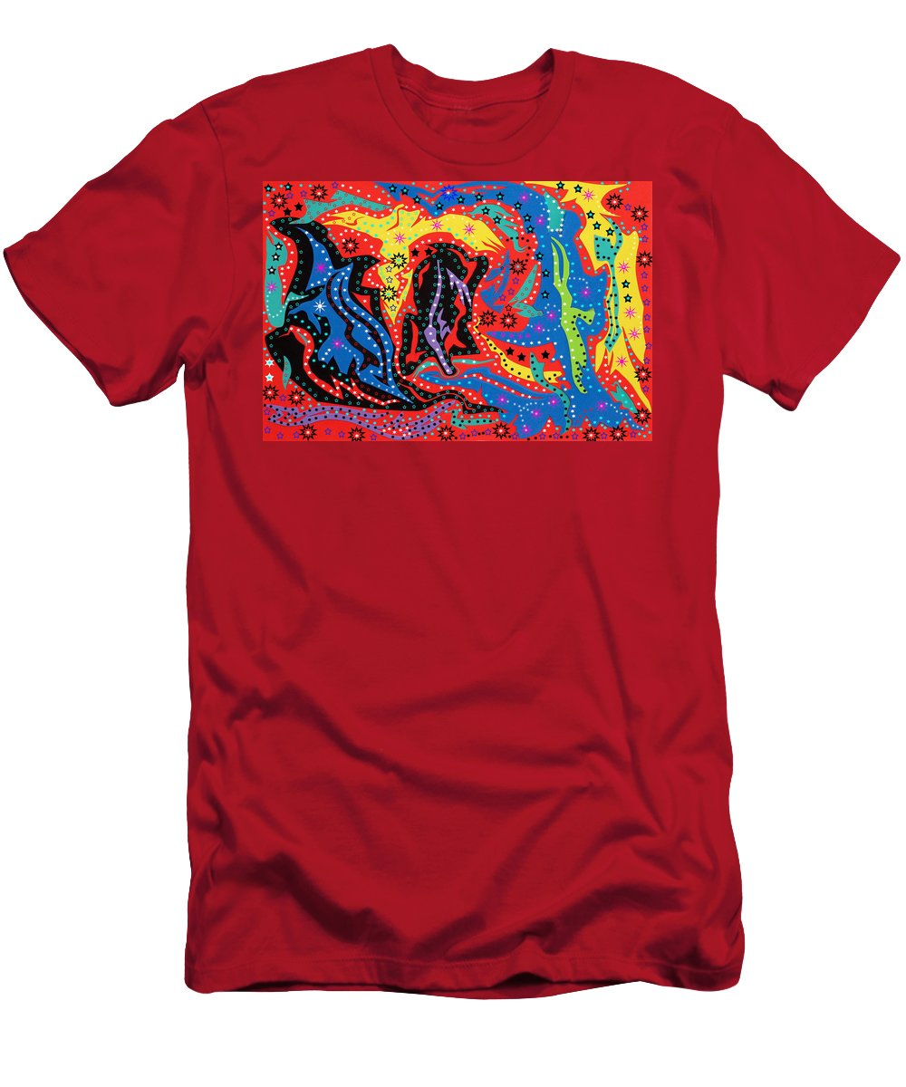 Abstract Art Men's T-Shirt (Athletic Fit) featuring the mixed media The Stars At Night by Robert Margetts