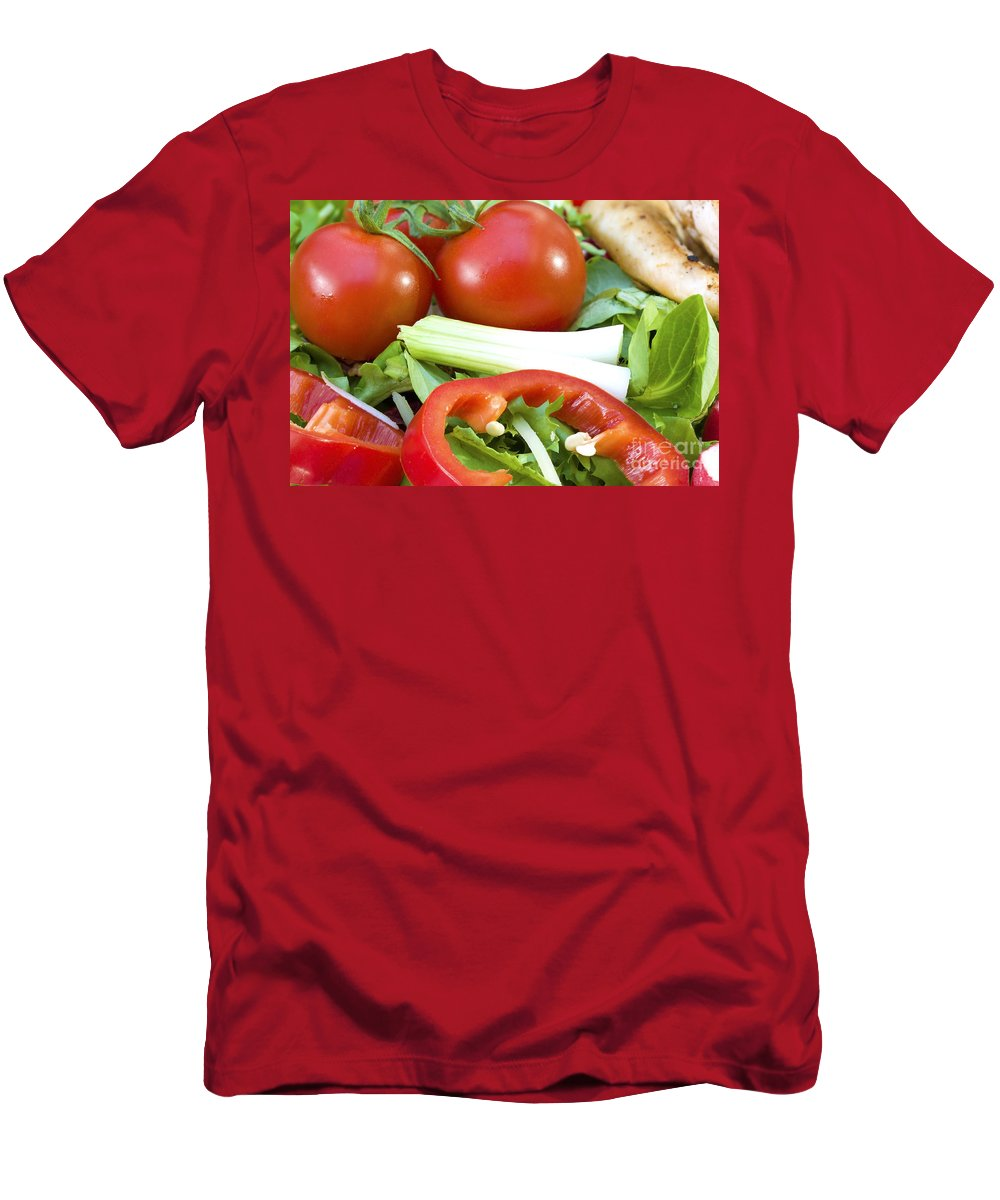 Tomato Men's T-Shirt (Athletic Fit) featuring the photograph Tomato Salad Close Up by Simon Bratt Photography LRPS