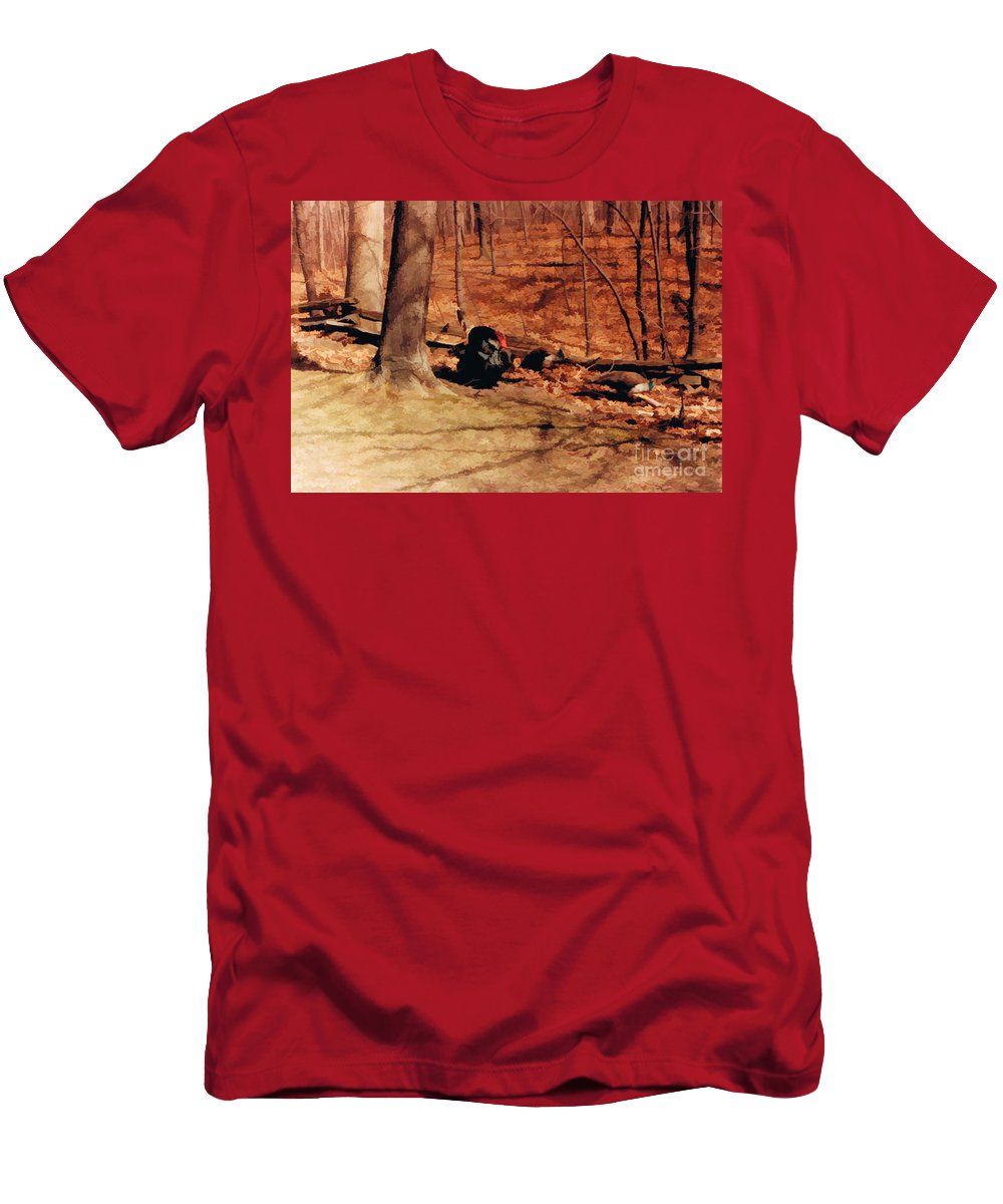 Turkey Men's T-Shirt (Athletic Fit) featuring the digital art Turkey In The Wild by Tommy Anderson
