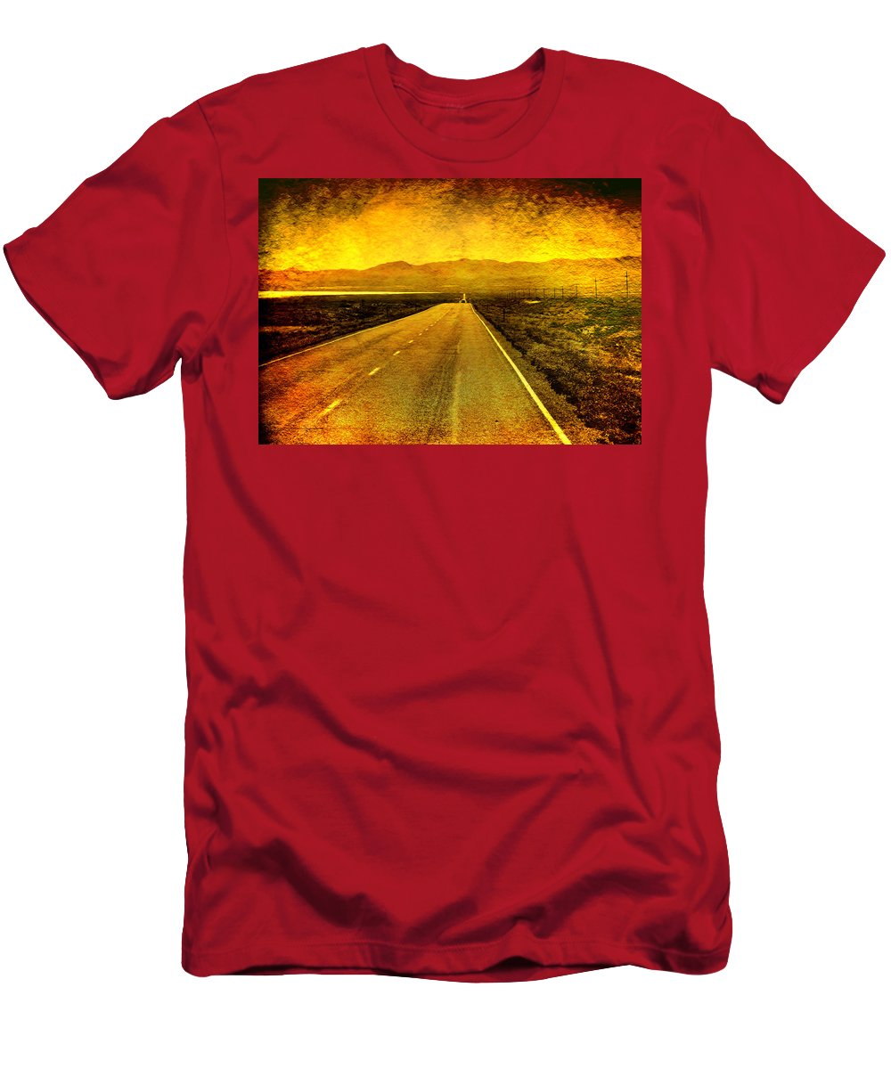 Nevada Men's T-Shirt (Athletic Fit) featuring the photograph Us 50 - The Loneliest Road In America by Ellen Heaverlo
