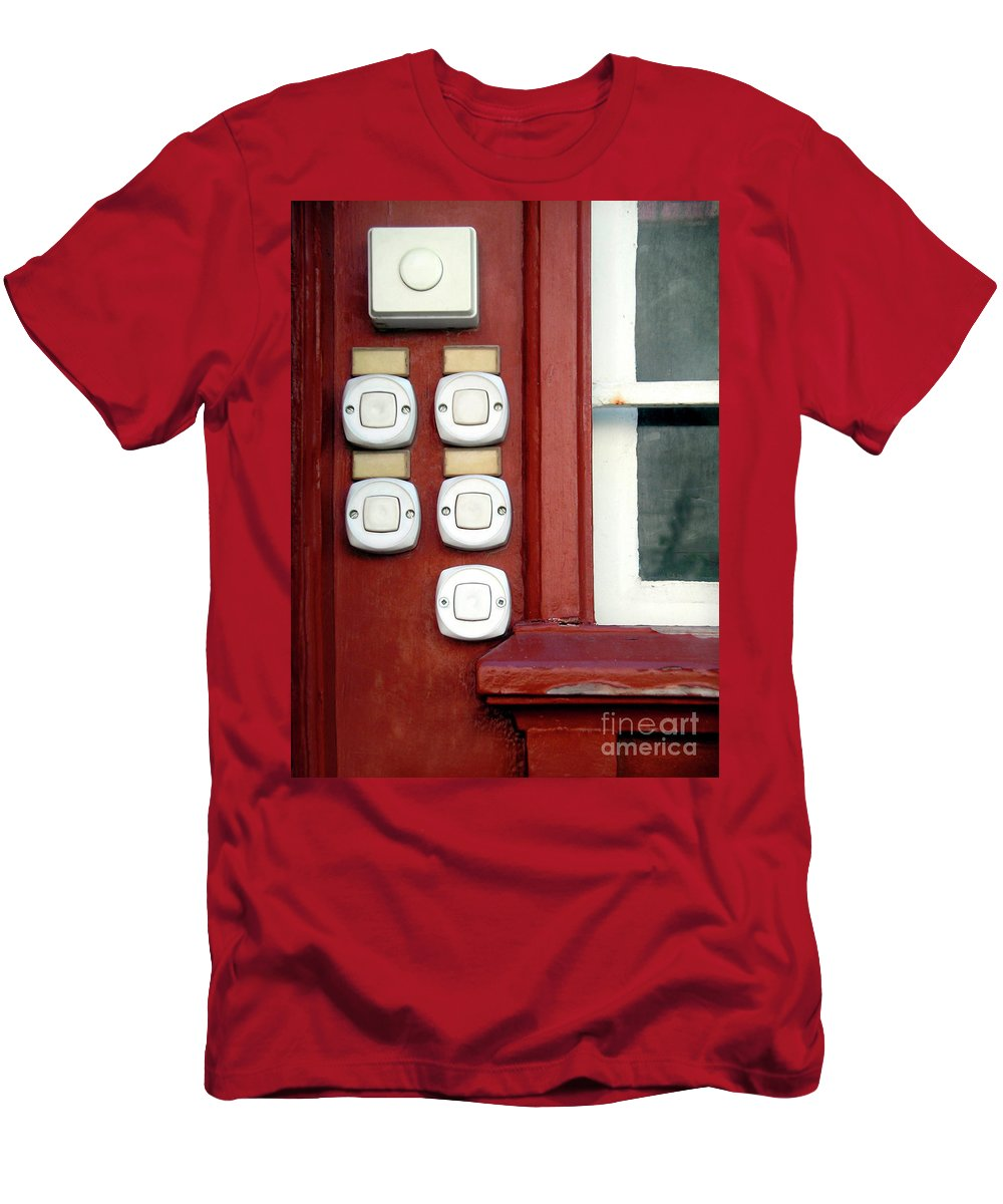 Bells Men's T-Shirt (Athletic Fit) featuring the photograph White Doorbells by Carlos Caetano