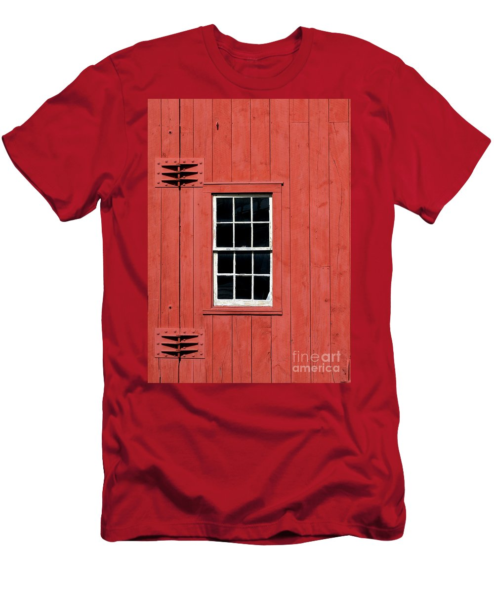 American Men's T-Shirt (Athletic Fit) featuring the photograph Window In Red Wall by Sabrina L Ryan