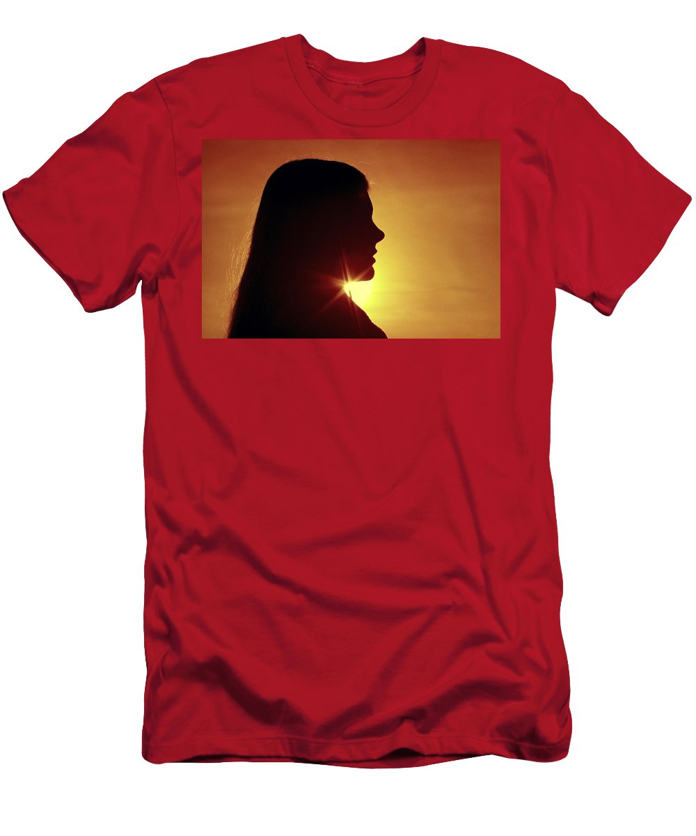 Silhouette Men's T-Shirt (Athletic Fit) featuring the photograph Woman Silhouette by Sally Weigand