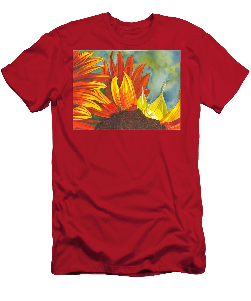 Sunflower Men's T-Shirt (Athletic Fit) featuring the painting Ray by Catherine G McElroy