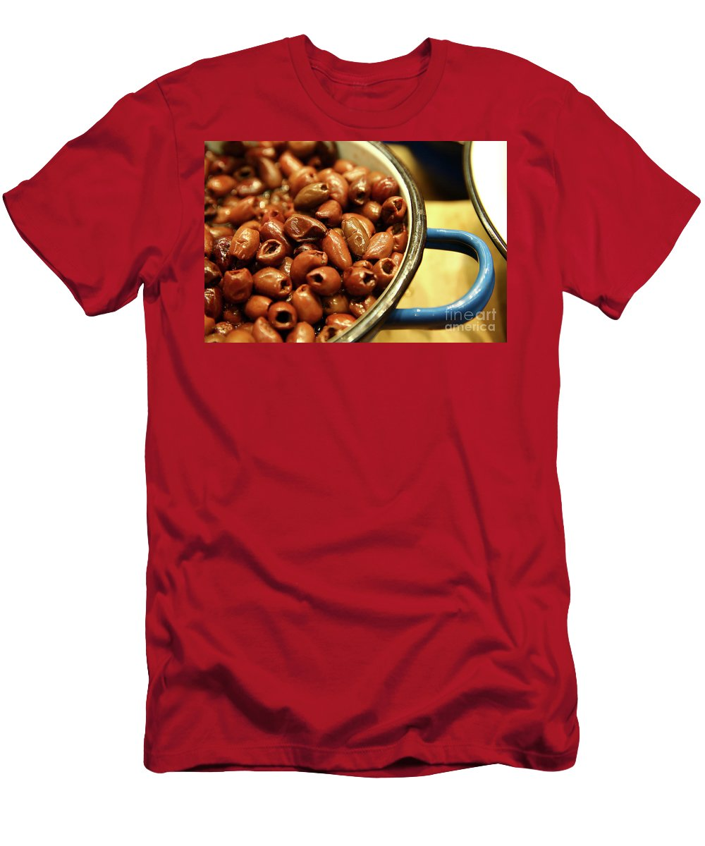 Food Men's T-Shirt (Athletic Fit) featuring the photograph A Bowl Of Black Olives by Oren Shalev