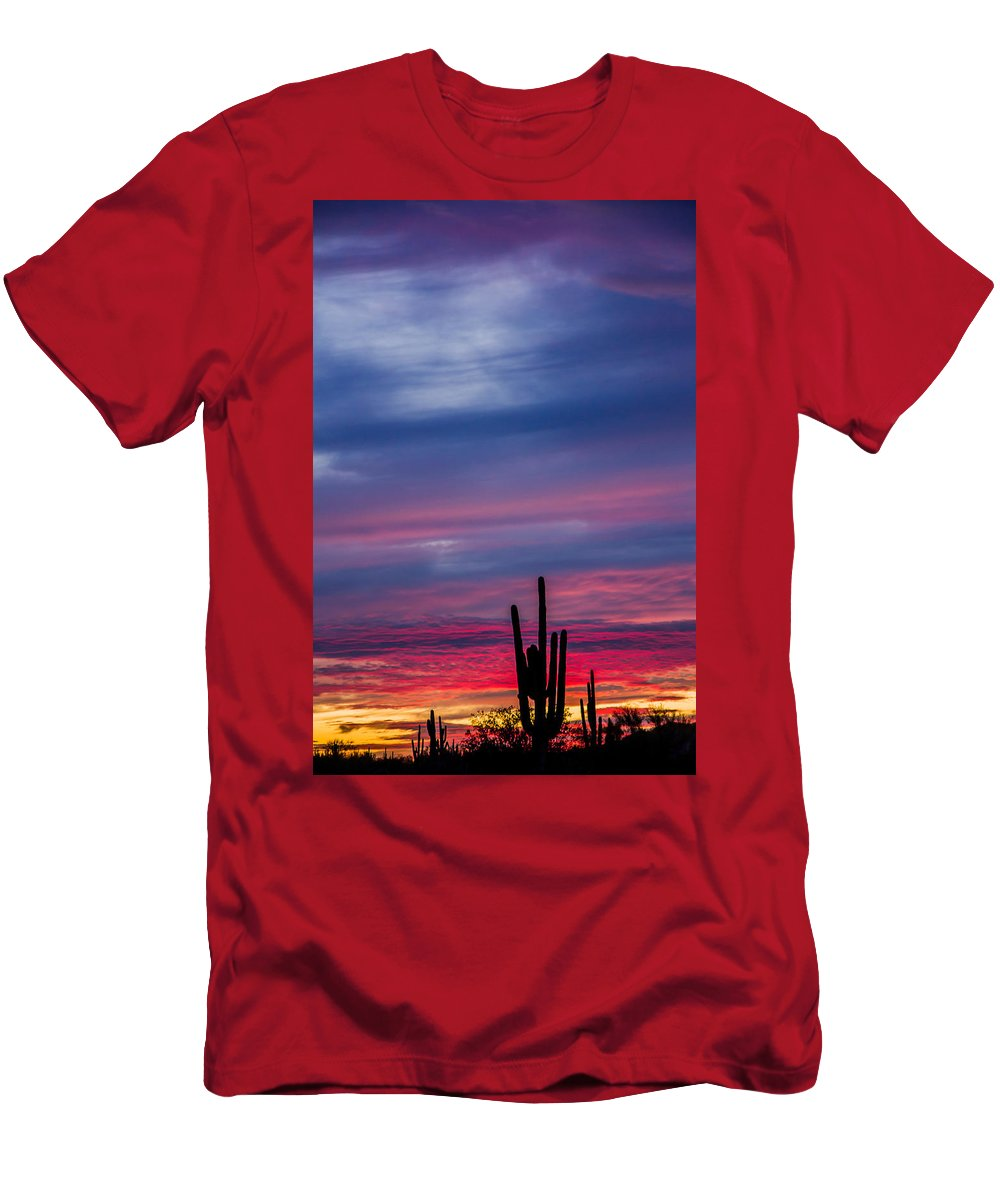 Sky Men's T-Shirt (Athletic Fit) featuring the photograph Arizona Desert Sunset by Susan Westervelt
