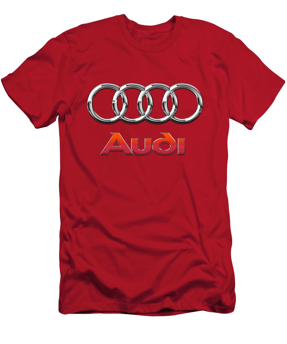Wheels Of Fortune By Serge Averbukh T-Shirt featuring the photograph Audi - 3D Badge on Red by Serge Averbukh