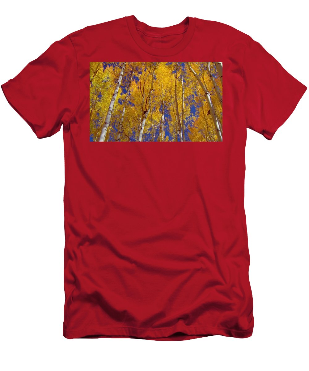 Seasons Men's T-Shirt (Athletic Fit) featuring the mixed media Beautiful Fall Season Nature Renews Itself Theme Green Trees Reaching For The Sky Save The Environ by Navin Joshi