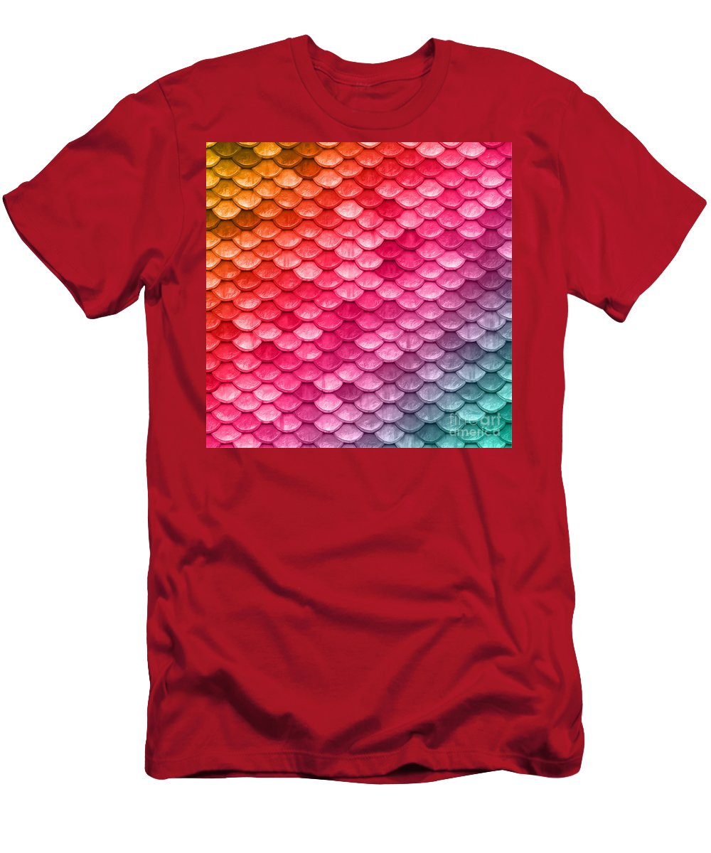 Beach House Men's T-Shirt (Athletic Fit) featuring the digital art Beautiful Pastel Diagonal Rainbow Spectrum II Mermaid Fish Scales by Tina Lavoie