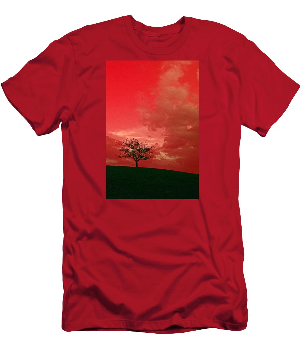 Beauty Men's T-Shirt (Athletic Fit) featuring the photograph Beauty Stands Against The Terrible Sky by Dawn Richerson