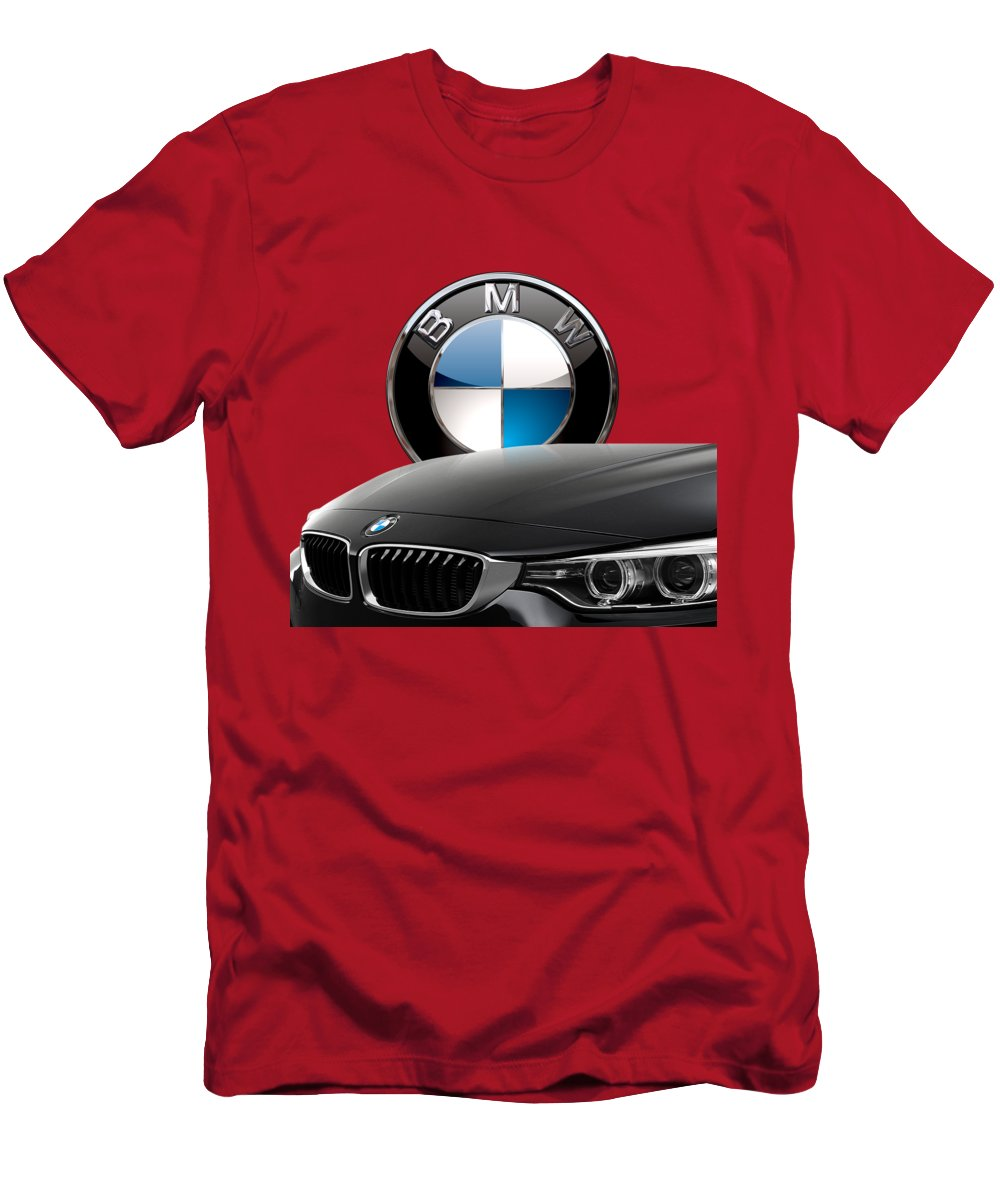 �auto Badges� Collection By Serge Averbukh Men's T-Shirt (Slim Fit) featuring the photograph Black B M W - Front Grill Ornament And 3 D Badge On Red by Serge Averbukh