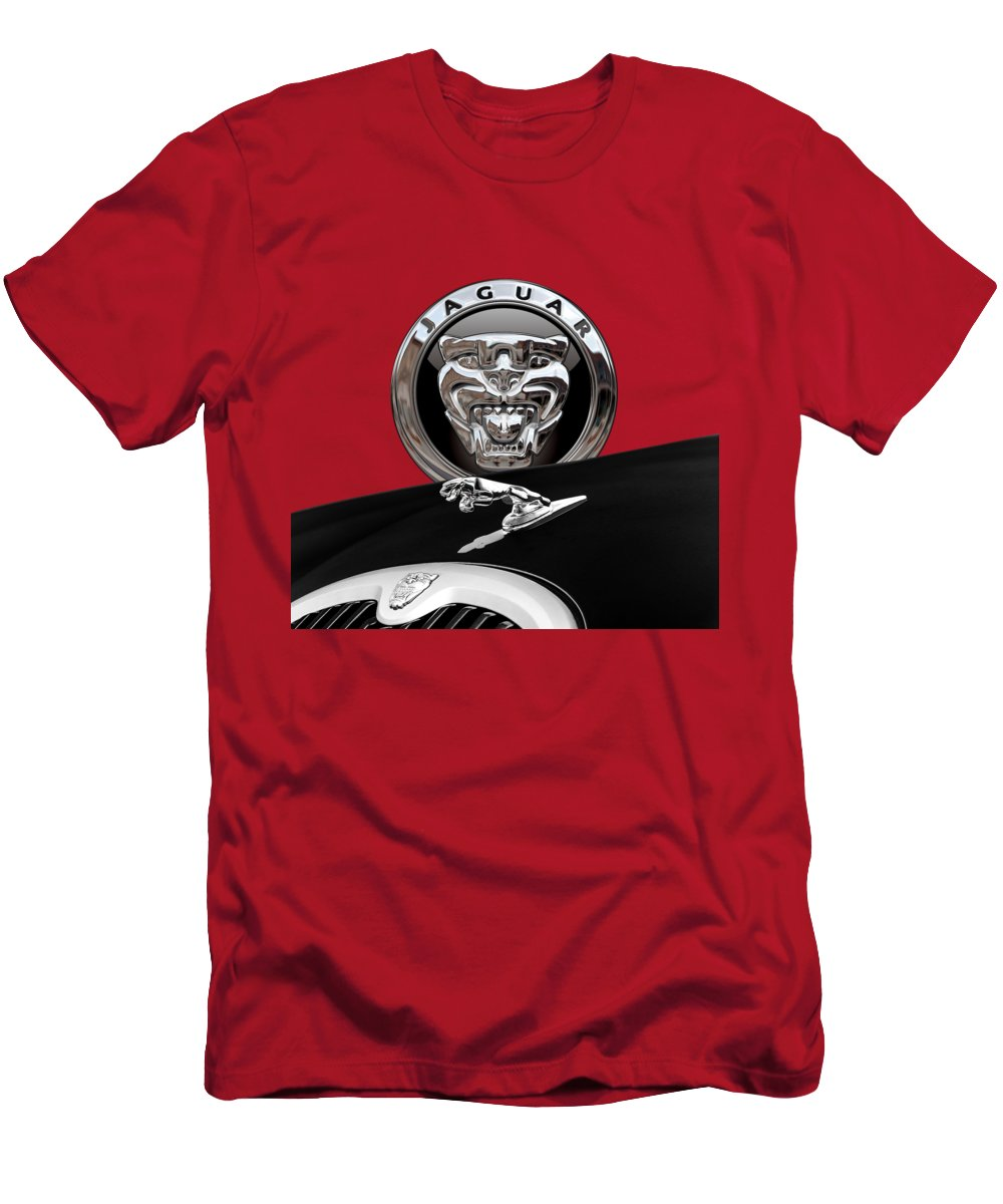 'auto Badges' Collection By Serge Averbukh Men's T-Shirt (Slim Fit) featuring the photograph Black Jaguar - Hood Ornaments And 3 D Badge On Red by Serge Averbukh