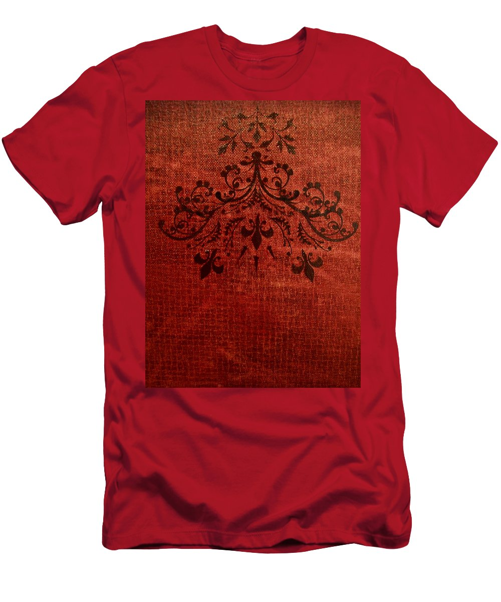 Red Men's T-Shirt (Athletic Fit) featuring the painting Boudoir Two by Laurette Escobar