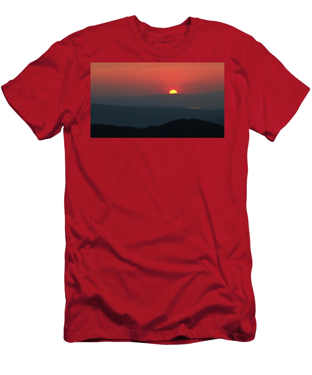Hill Men's T-Shirt (Athletic Fit) featuring the photograph Breathtaking Sunset At Tatra Mountains, Carpathian Region, Poland by Lukasz Szczepanski