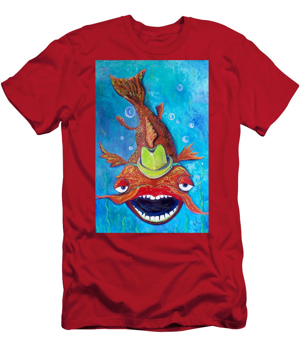 Fish Men's T-Shirt (Athletic Fit) featuring the painting Catfish Clyde by Vickie Scarlett-Fisher