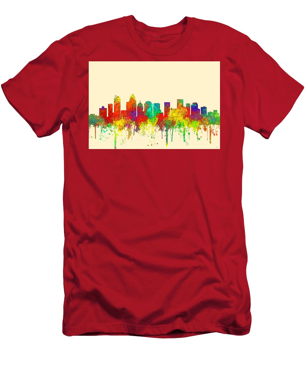 Charlotte Nc Skyline Skyline Men's T-Shirt (Athletic Fit) featuring the digital art Charlotte Nc Skyline Skyline by Marlene Watson
