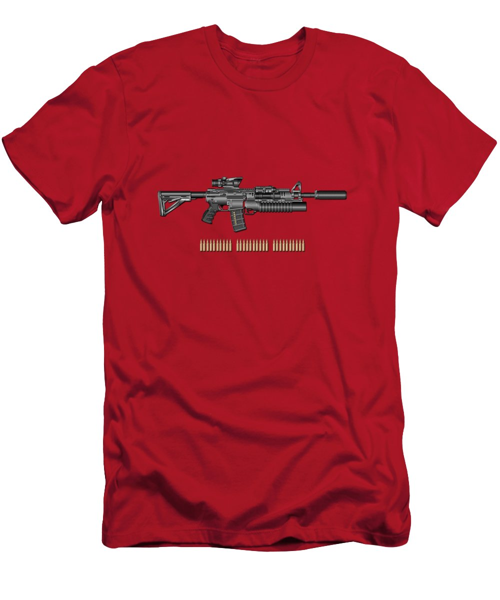 �the Armory� By Serge Averbukh T-Shirt featuring the photograph Colt M 4 A 1 S O P M O D Carbine with 5.56 N A T O Rounds on Red Velvet by Serge Averbukh