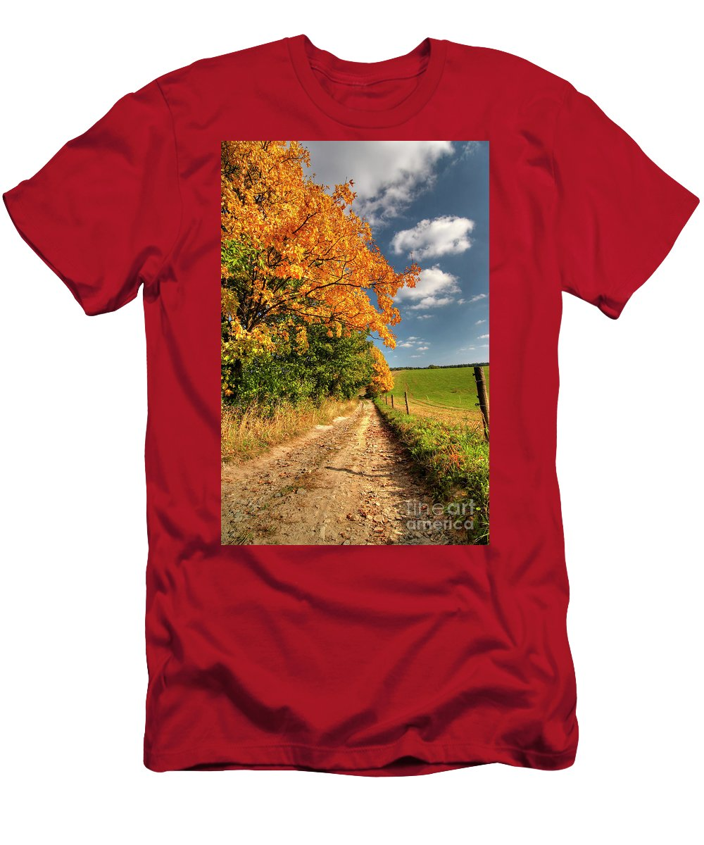 Autumn Men's T-Shirt (Athletic Fit) featuring the photograph Country Road And Autumn Landscape by Michal Boubin