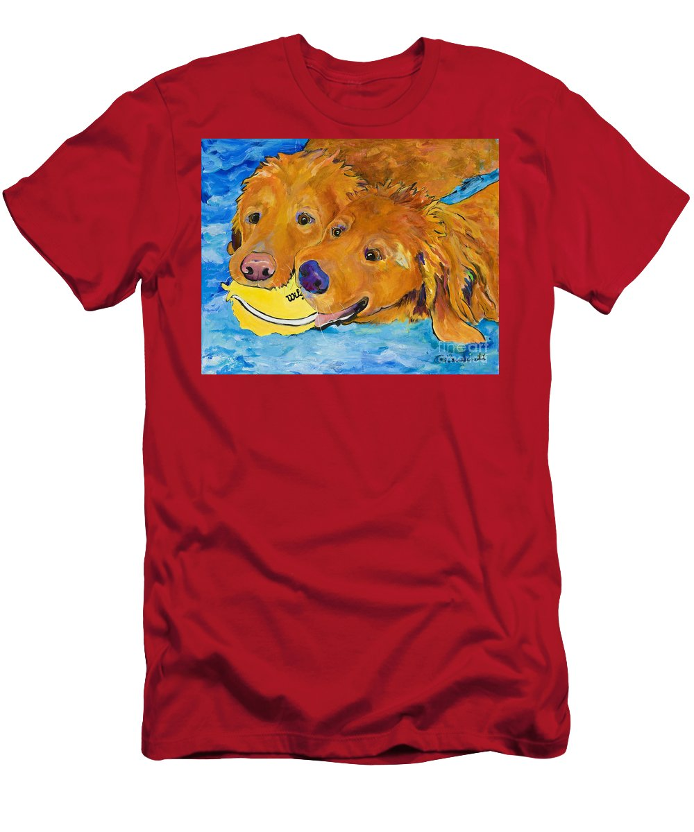 Golden Retriever Men's T-Shirt (Athletic Fit) featuring the painting Double Your Pleasure by Pat Saunders-White