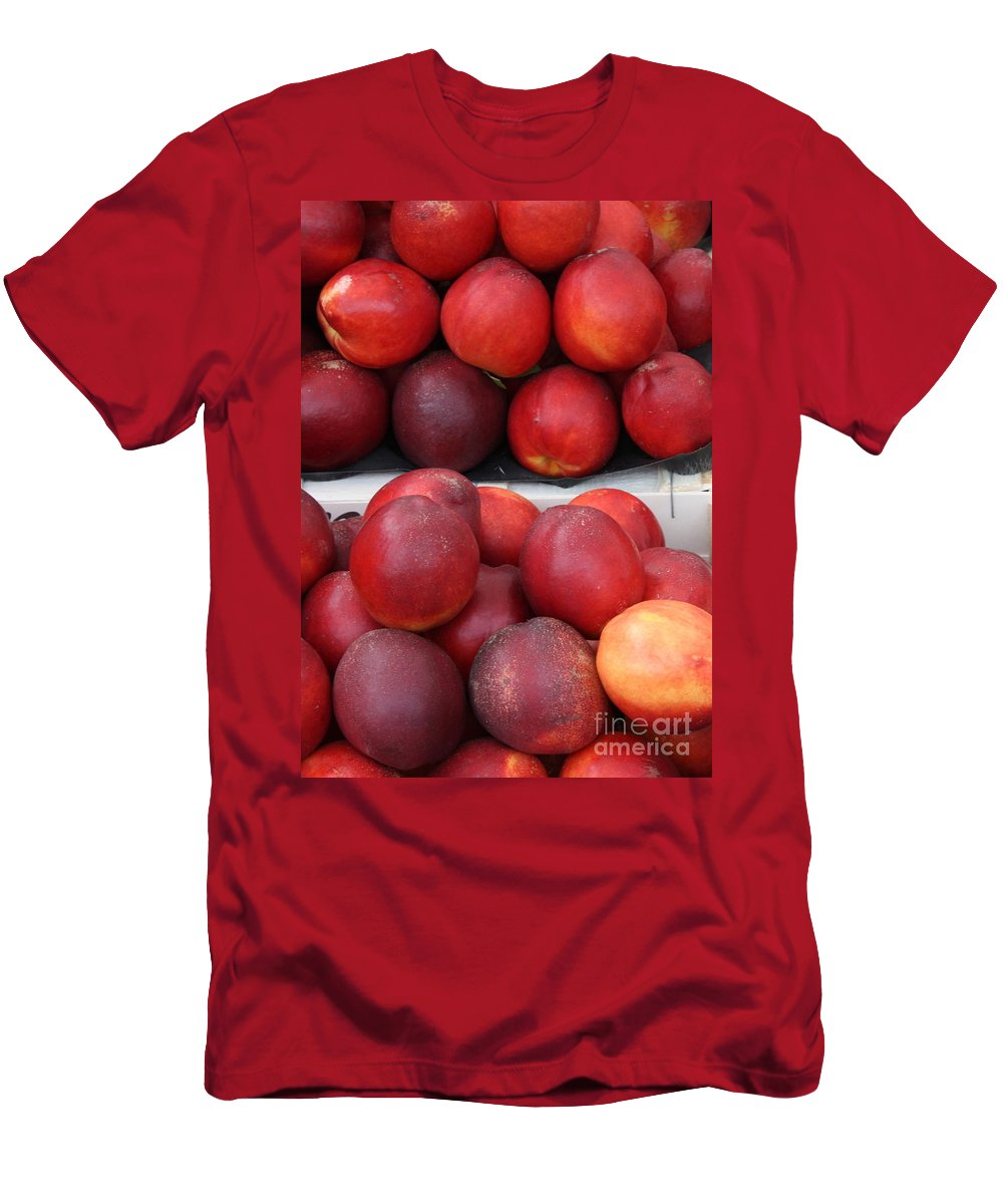 Nectarines Men's T-Shirt (Athletic Fit) featuring the photograph European Markets - Nectarines by Carol Groenen